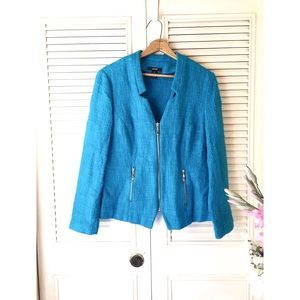 Alfani | Textured Turquoise Fitted Zip Up Blazer